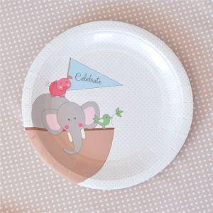 Noahs Ark Blue Dessert Party Plate - Bickiboo Party Supplies