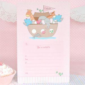 Noahs Ark Pink Invitation - Bickiboo Party Supplies