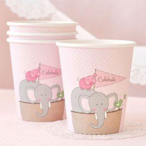 Noahs Ark Pink Party Cup - Bickiboo Party Supplies