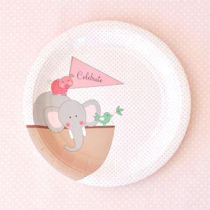 Noahs Ark Pink Dessert Party Plate - Bickiboo Party Supplies