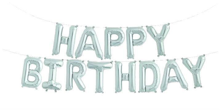 "Silver ""HAPPY BIRTHDAY"" foil Balloon Kit -41cm - Bickiboo Designs"