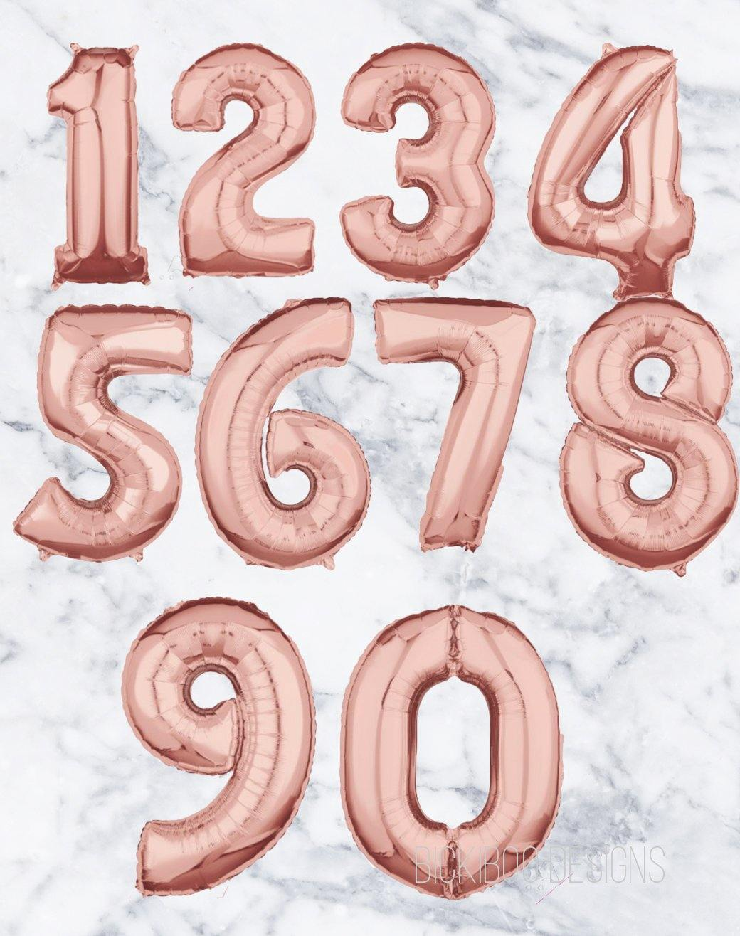 Rose Gold Foil Number Balloon Mid size 66cm