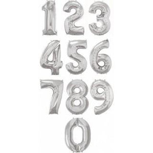 Giant Silver Foil Number Balloon 86cm - Bickiboo Designs