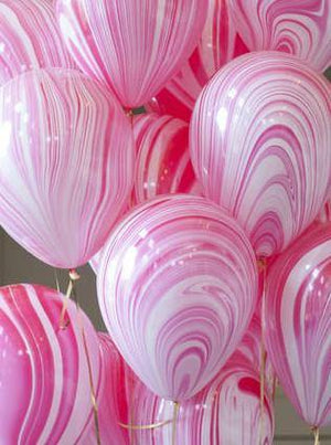 Red & White Marble 28cm Balloons  (5pack)
