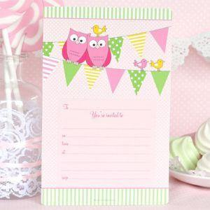 Pink Owl Invitations - Bickiboo Party Supplies