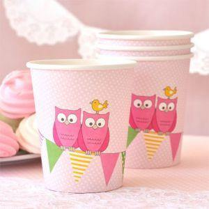 Owl Pink Large Round Party Plate - Bickiboo Designs