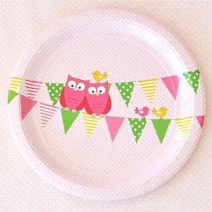 Owl Pink Large Round Party Plate - Bickiboo Party Supplies