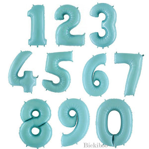 Giant Pastel Blue Foil Number Balloon 100cm - Bickiboo Designs