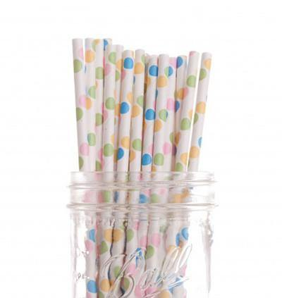 Pastel Colours Polka Dot Paper Straws - Bickiboo Party Supplies