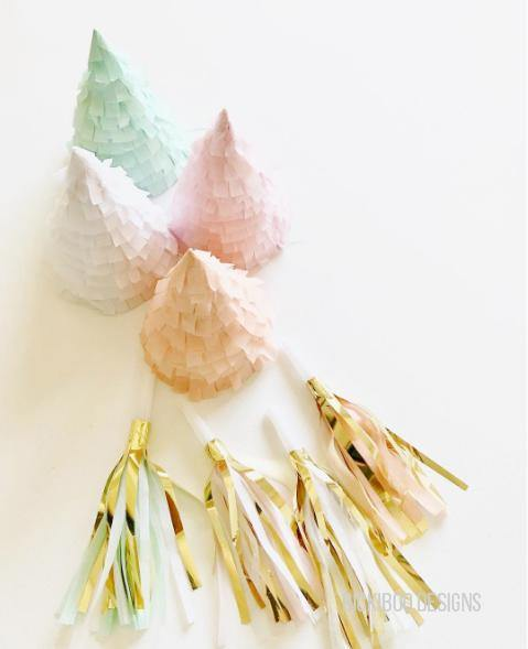 Pastel Fringe Party Hats