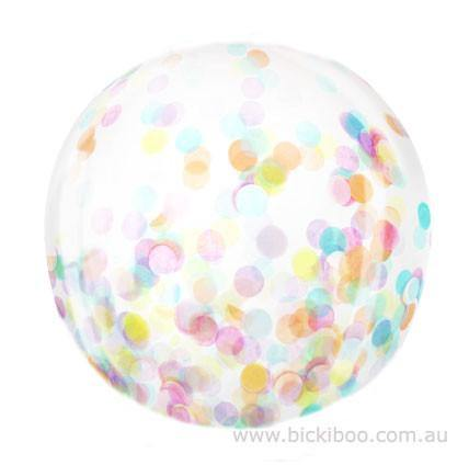 Jumbo Confetti Balloon Pastels - 90cm - Bickiboo Party Supplies