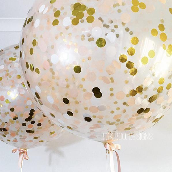 Jumbo Helium Filled Confetti Balloon - Peach & Gold