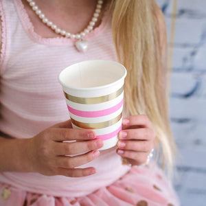 Gold & Pink Foil Stripe Party Cup - Bickiboo Party Supplies