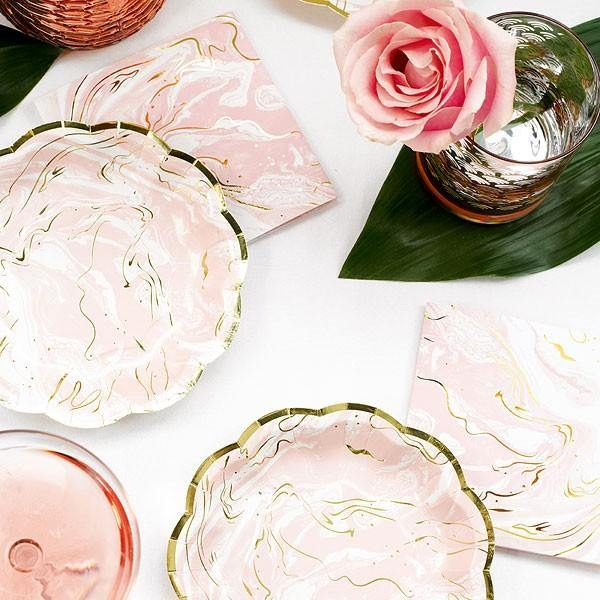 Pink & Gold Marble Party Plates - Bickiboo Designs