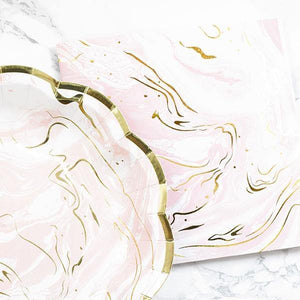Pink & Gold Marble Party Plates