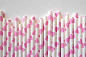 Marshmallow Pink Love Heart  Paper Straws - Bickiboo Party Supplies