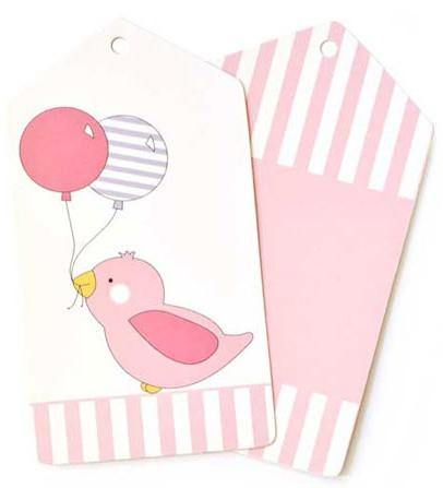 Pink Bird Gift Tag - Bickiboo Designs