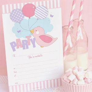 Pink Bird Invitation - Bickiboo Party Supplies
