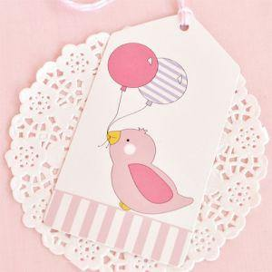 Pink Bird Gift Tag - Bickiboo Party Supplies