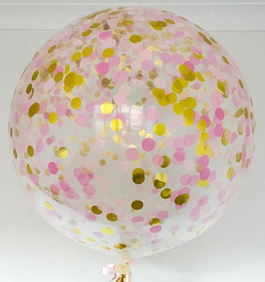 Jumbo Helium Filled Confetti Balloon - Blush & Raspberry