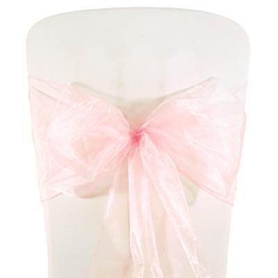 Pink Organza Chair Sashes (pack of 5) - Bickiboo Party Supplies