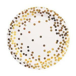 Gold Foil Confetti Party Plate -Set of 10
