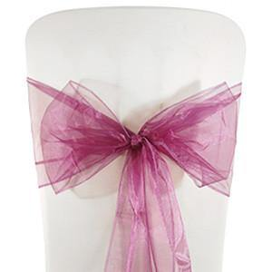 Purple Organza Chair Sashes (pack of 5) - Bickiboo Party Supplies