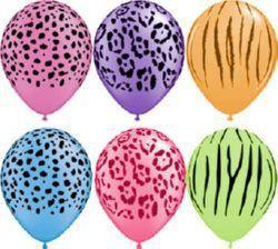 28cm Safari Neon Assortment Balloons (6 pack) - Bickiboo Designs