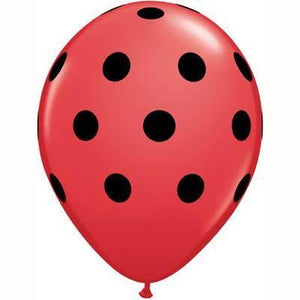 "28cm (11"") Big Polka Dots Red With Black Dots - Bickiboo Party Supplies"