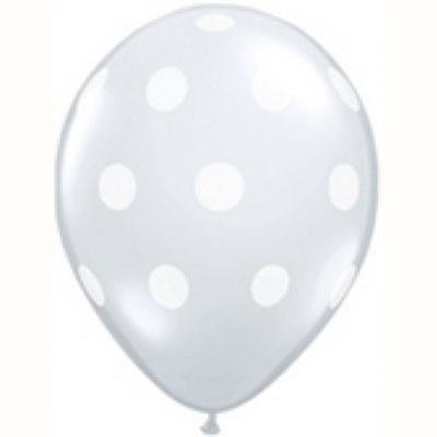 "28cm (11"") Big Polka Dots Diamond Clear & White Dots - Bickiboo Party Supplies"