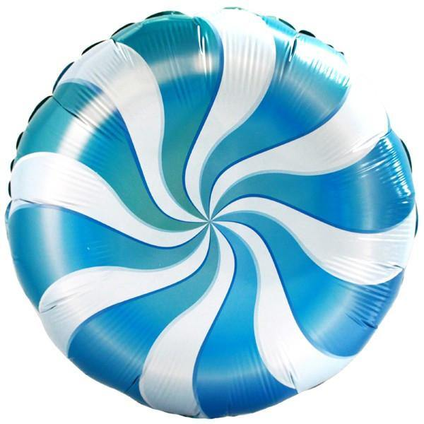 Blue Candy Swirl Foil Balloon -45cm