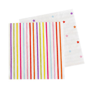 Rainbow Stripes & Stars Napkins - Pack of 20 - Bickiboo Party Supplies