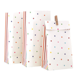 Rainbow Stripes & Stars Party Bag - 10 Pack - Bickiboo Party Supplies