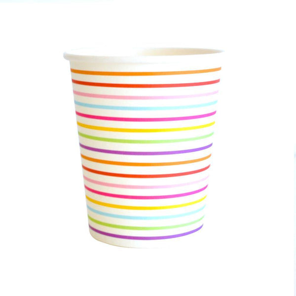 Rainbow Stripe Party Cups - Bickiboo Party Supplies