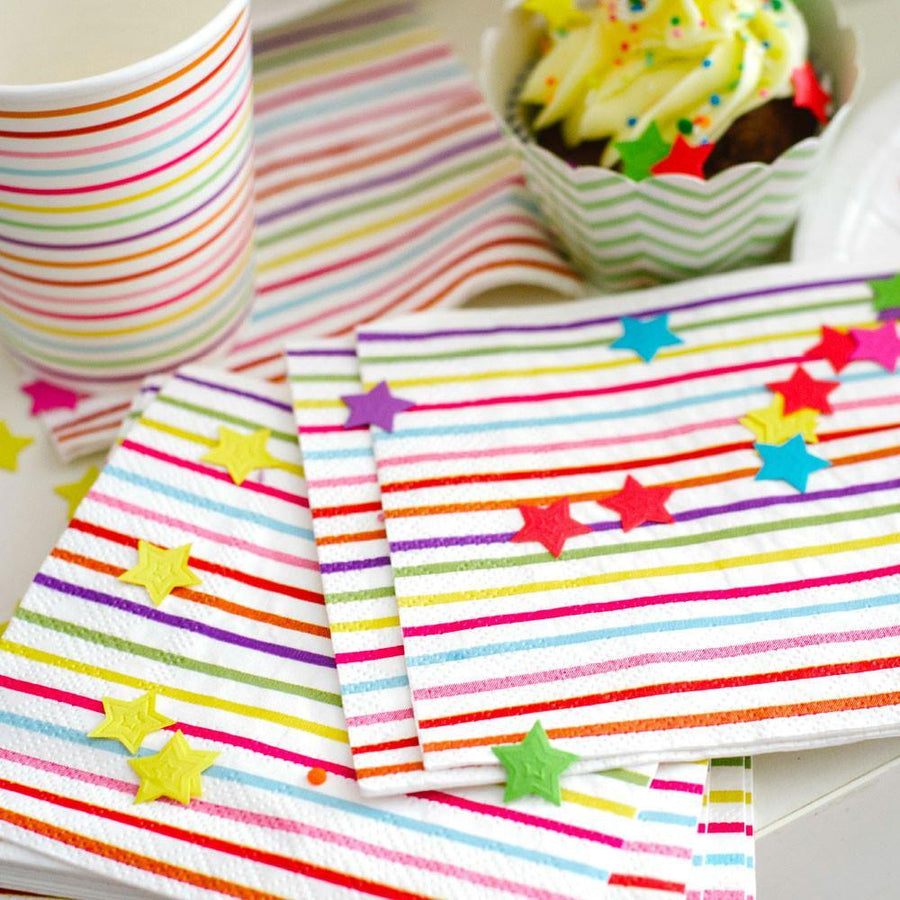 Rainbow Stripes & Stars Napkins - Pack of 20 - Bickiboo Designs