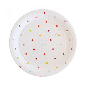 Rainbow Stars Dessert Party Plates (10 pack) - Bickiboo Party Supplies