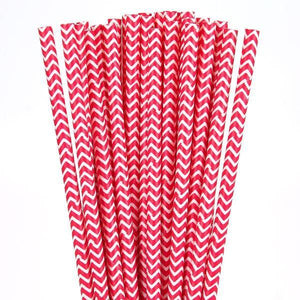 Red Chevron Paper Drinking Straws (25 pack) - Bickiboo Party Supplies