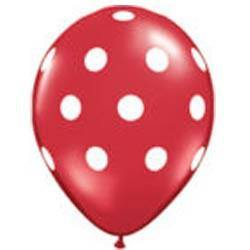 "28cm (11"") Big Polka Dots Red With White Dots - Bickiboo Party Supplies"