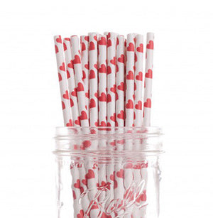 Red Hearts Paper Straws - Bickiboo Party Supplies