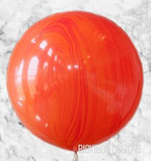 Red Orange Marble 76cm Balloon