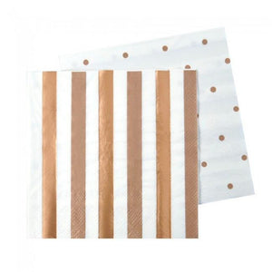 Rose Gold Stripes & Spots Napkins - Pack of 20 - Bickiboo Designs