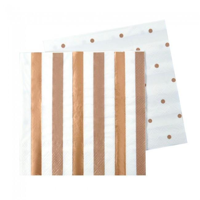 Rose Gold Stripes & Spots Napkins - Pack of 20