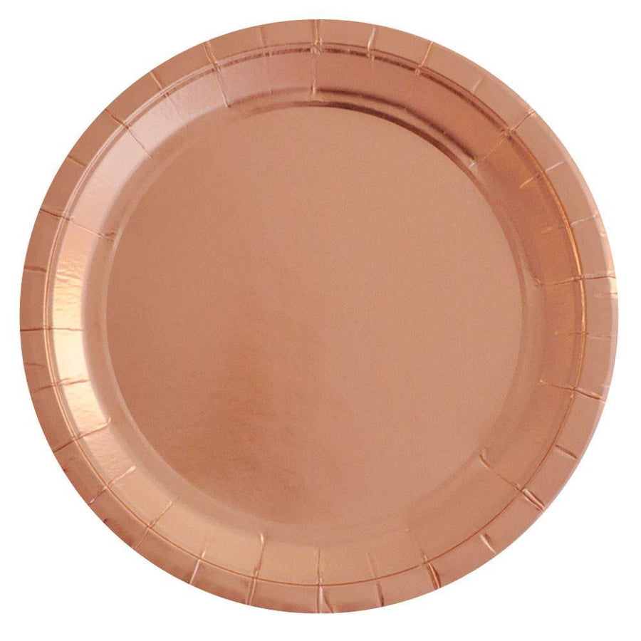 Rose Gold Foil Large Party Plates (10 pack) - Bickiboo Designs