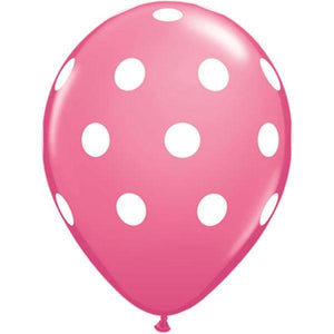 "28cm (11"") Big Polka Dots Rose With White Dots - Bickiboo Party Supplies"