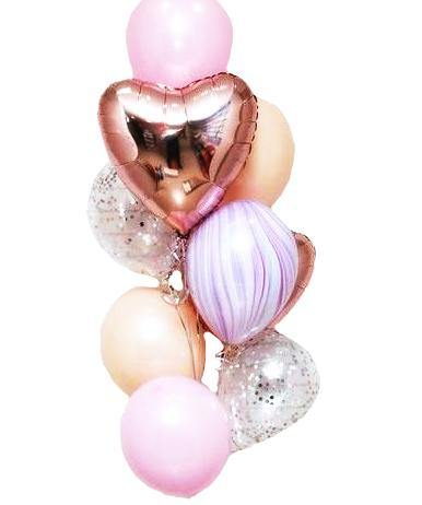 Rose Gold heart & confetti Balloons Bouquet