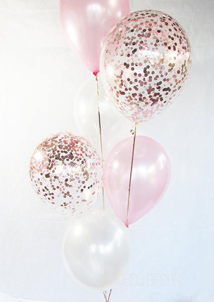 Pearl White & Blush with Rose Gold Confetti Balloons Bouquet