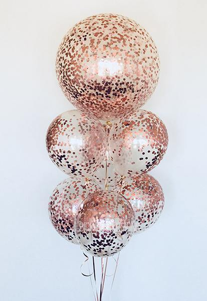 Helium Filled  Rose Gold Confetti Balloon Bunch