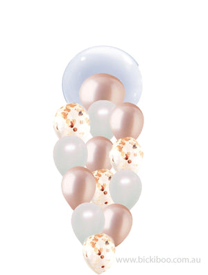 Pearl White & Rose Gold & Rose Gold Confetti Balloon Bouquet