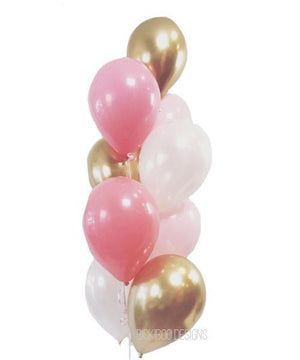 Chrome Gold & Rose Pink Balloons Bouquet - Bickiboo Designs