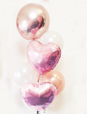 Rose gold & Pink Foil Balloons Bouquet